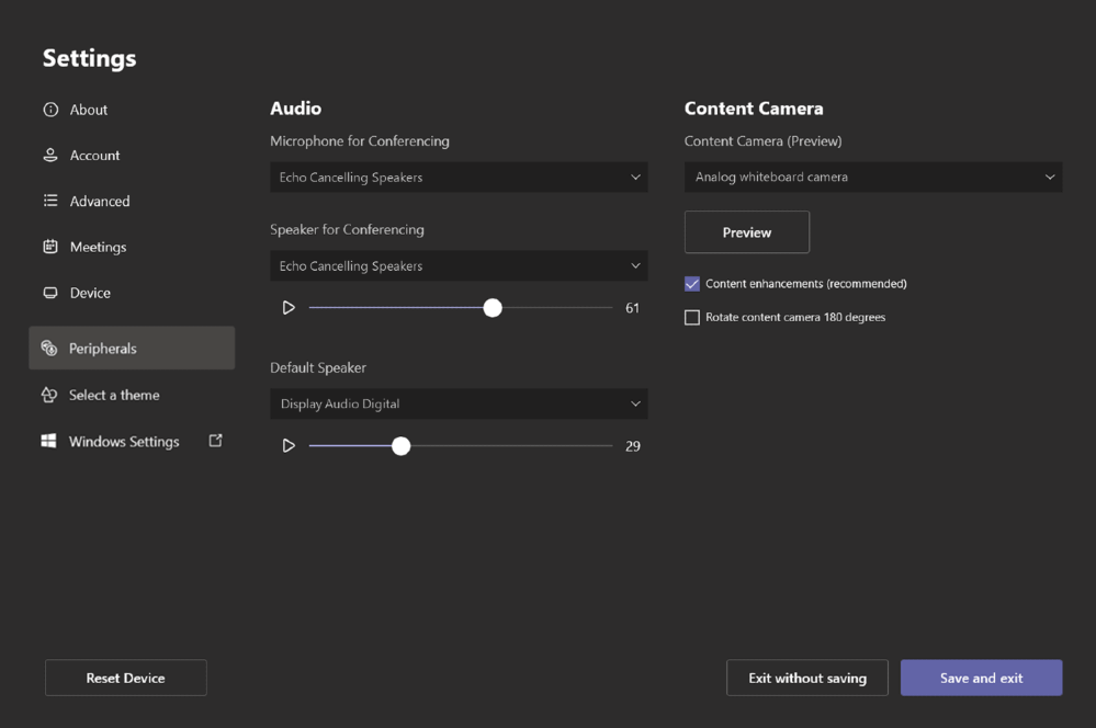 Adjust default volume for in-room speakers