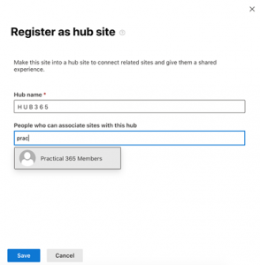 Register as a hub site