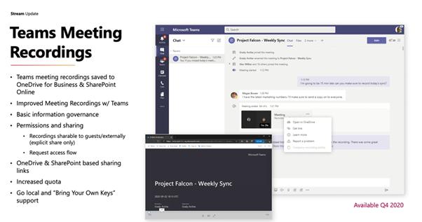 Teams meeting recordings announcement at Microsoft Ignite