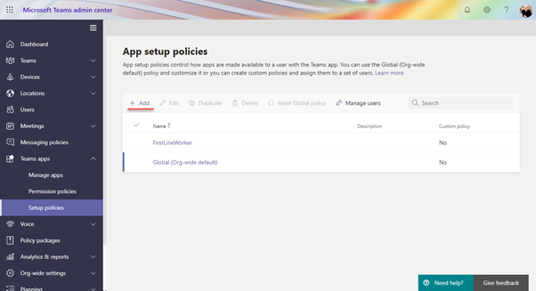 Create an app setup policy for your Yammer Communities app