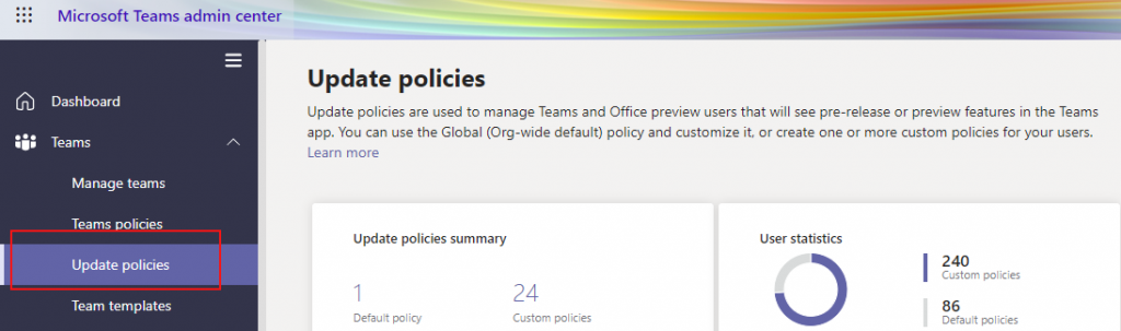Select the Update policies option