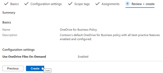 Configuration profile for review and create screen for Intune Policies